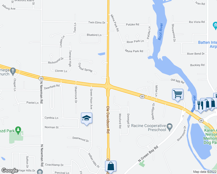 map of restaurants, bars, coffee shops, grocery stores, and more near Hwy 31 & Northwestern Ave in Mt Pleasant