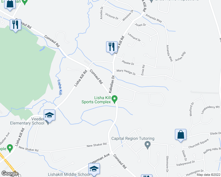 map of restaurants, bars, coffee shops, grocery stores, and more near 4 Kabalian Drive in Schenectady
