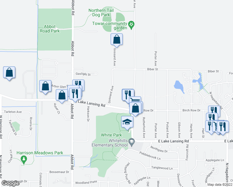 map of restaurants, bars, coffee shops, grocery stores, and more near 6180 Gossard Avenue in East Lansing