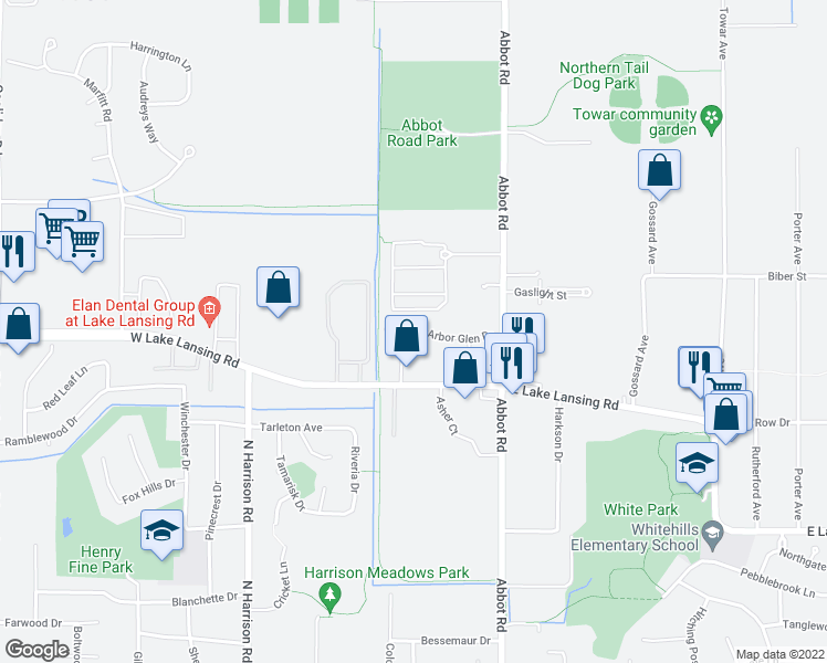 map of restaurants, bars, coffee shops, grocery stores, and more near 295 Arbor Glen Drive in East Lansing