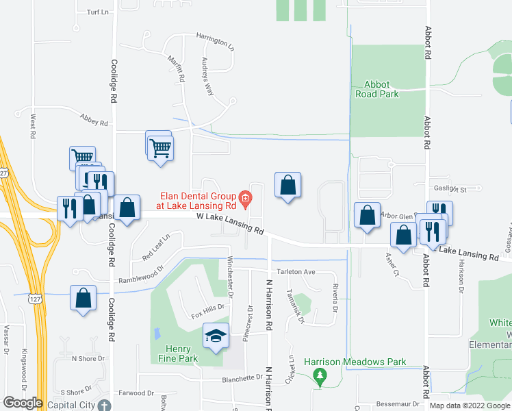 map of restaurants, bars, coffee shops, grocery stores, and more near 2430 Burnt Tree Lane in East Lansing