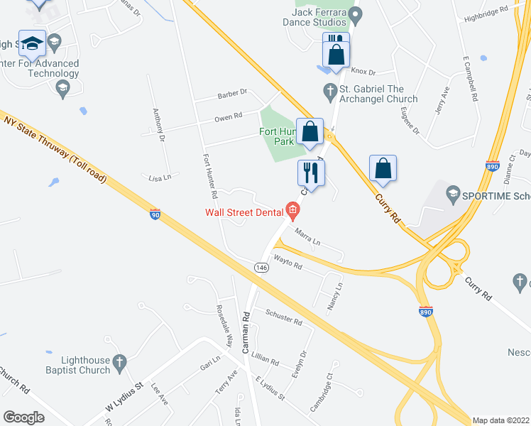 map of restaurants, bars, coffee shops, grocery stores, and more near 3168 Carman Road in Schenectady