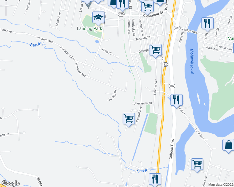 map of restaurants, bars, coffee shops, grocery stores, and more near 3 Hilltop Drive in Cohoes