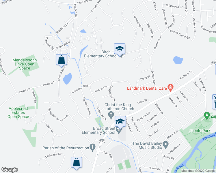 map of restaurants, bars, coffee shops, grocery stores, and more near 12 Deacon Drive in Nashua