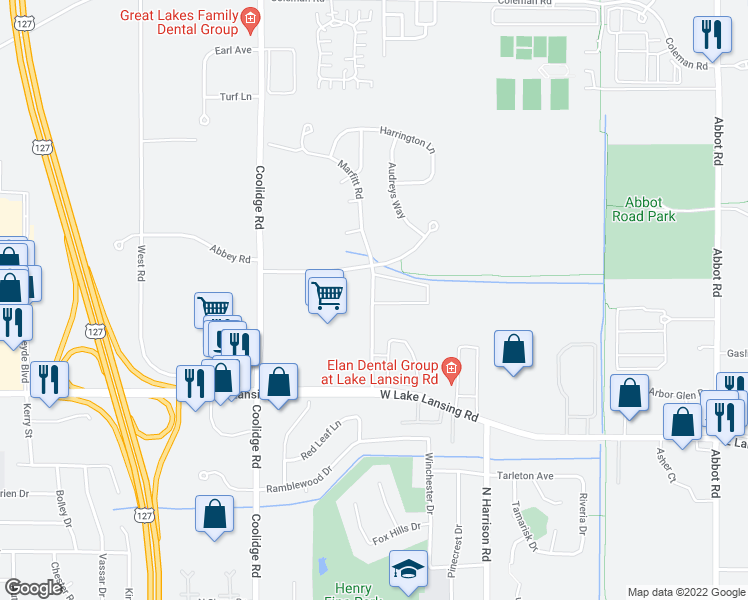 map of restaurants, bars, coffee shops, grocery stores, and more near 2530 Marfitt Road in East Lansing