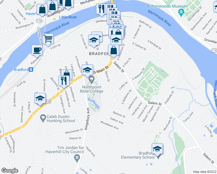 map of restaurants, bars, coffee shops, grocery stores, and more near 9 Euclid Avenue in Haverhill
