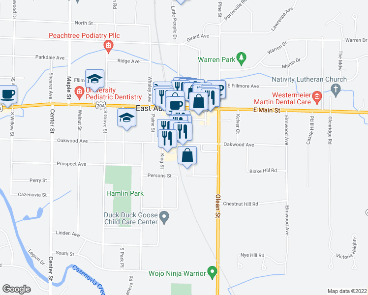 map of restaurants, bars, coffee shops, grocery stores, and more near 641 Oakwood Ave in East Aurora