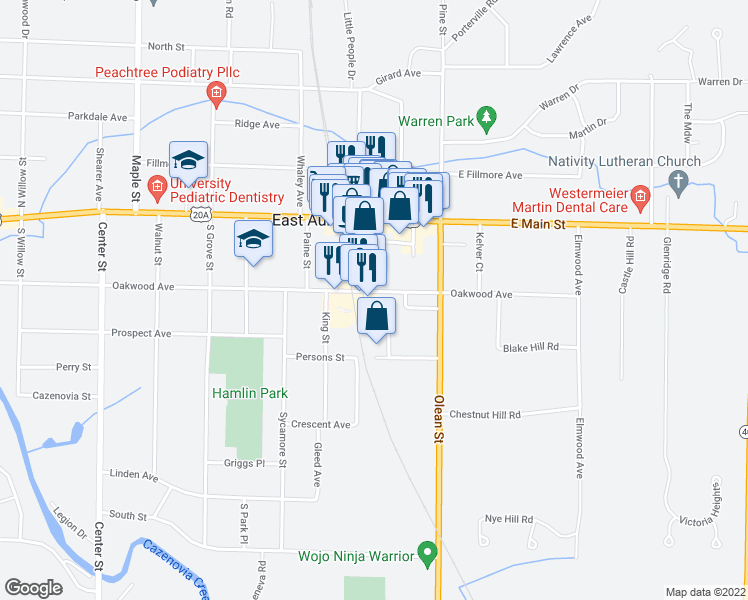 map of restaurants, bars, coffee shops, grocery stores, and more near 641 Oakwood Avenue in East Aurora