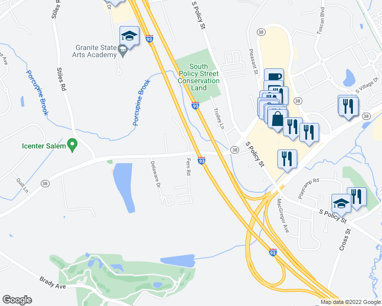 map of restaurants, bars, coffee shops, grocery stores, and more near 31 Lowell Road in Salem