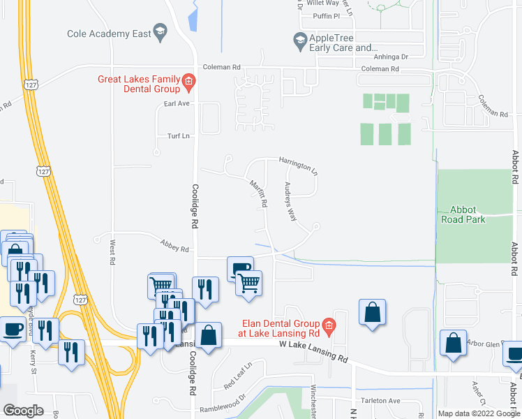 map of restaurants, bars, coffee shops, grocery stores, and more near 1204 Hawksridge Court in East Lansing