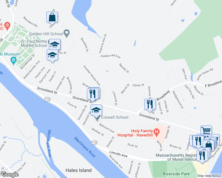 map of restaurants, bars, coffee shops, grocery stores, and more near 60 Linwood Street in Haverhill