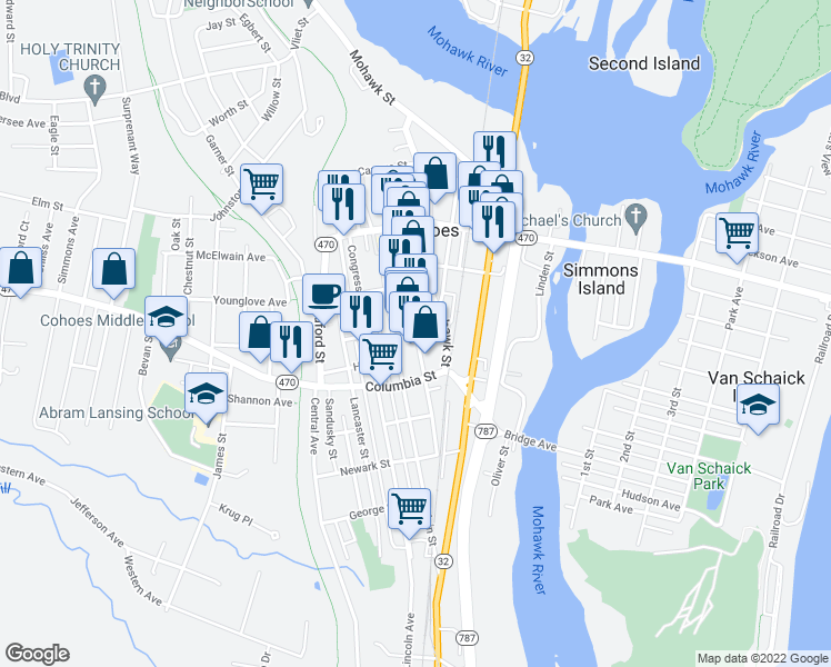 map of restaurants, bars, coffee shops, grocery stores, and more near Remsen Street in Cohoes