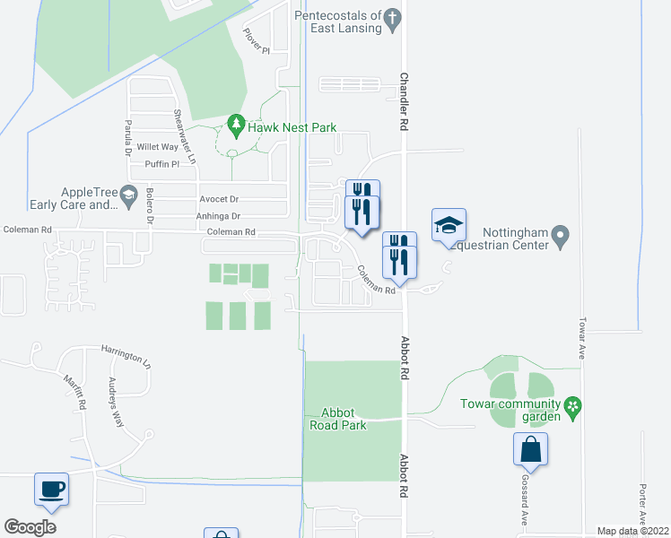 map of restaurants, bars, coffee shops, grocery stores, and more near 3850 Coleman Road in East Lansing