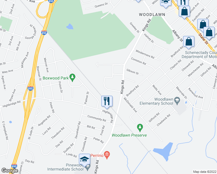 map of restaurants, bars, coffee shops, grocery stores, and more near 4212 Court Royale in Schenectady