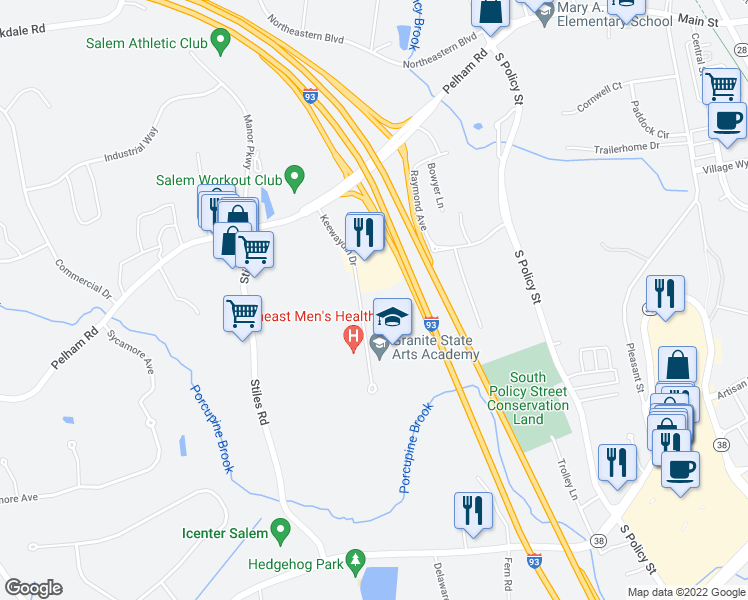 map of restaurants, bars, coffee shops, grocery stores, and more near 11 Keewaydin Drive in Salem