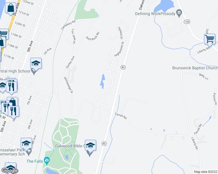 map of restaurants, bars, coffee shops, grocery stores, and more near Apex Lane in Troy