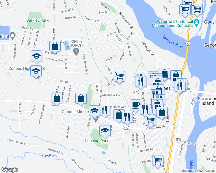 map of restaurants, bars, coffee shops, grocery stores, and more near 5 Broadway in Cohoes