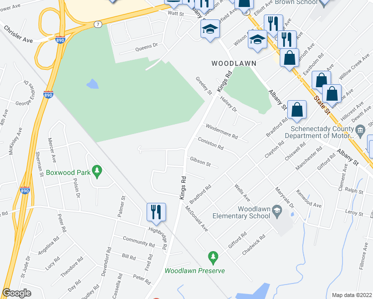 map of restaurants, bars, coffee shops, grocery stores, and more near Kings Road & Queen Philomena Boulevard in Schenectady
