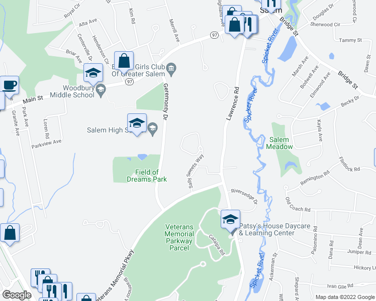map of restaurants, bars, coffee shops, grocery stores, and more near Sally Sweets Way in Salem