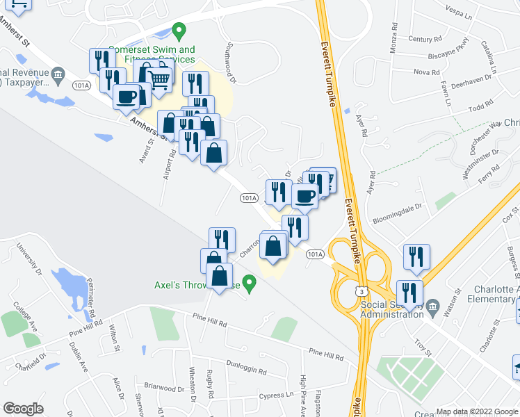 map of restaurants, bars, coffee shops, grocery stores, and more near 285 Amherst Street in Nashua