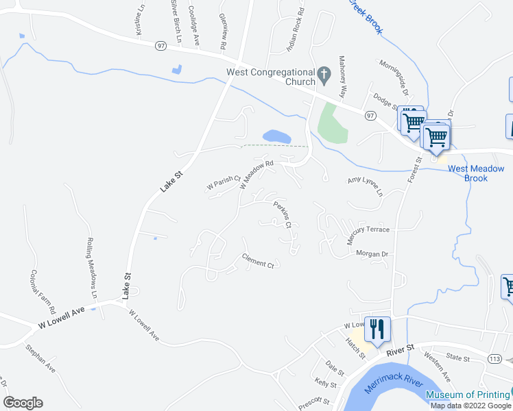 map of restaurants, bars, coffee shops, grocery stores, and more near 13 Perkins Court in Haverhill