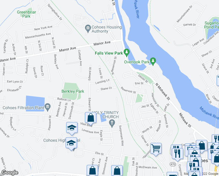 map of restaurants, bars, coffee shops, grocery stores, and more near Diane Court in Cohoes