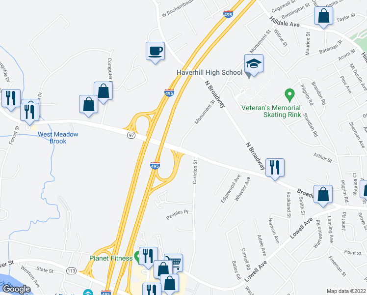 map of restaurants, bars, coffee shops, grocery stores, and more near 379 Broadway in Haverhill