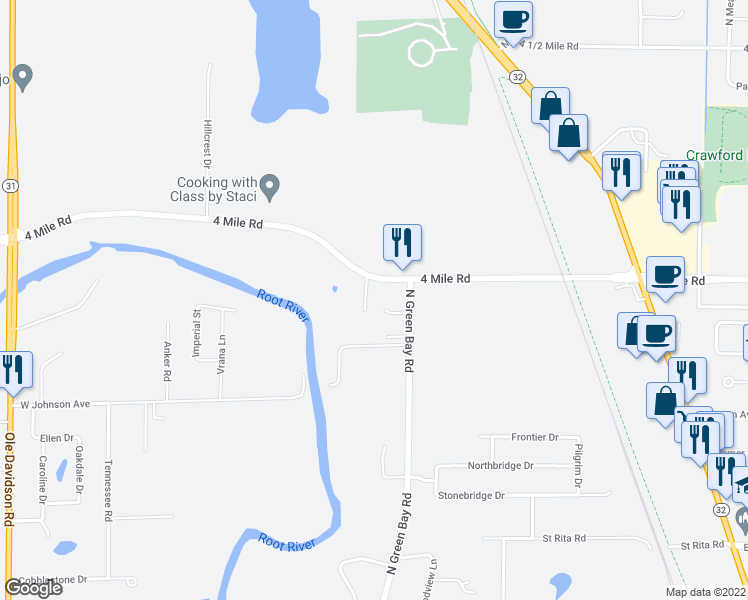 map of restaurants, bars, coffee shops, grocery stores, and more near 3330 Packer Drive in Racine
