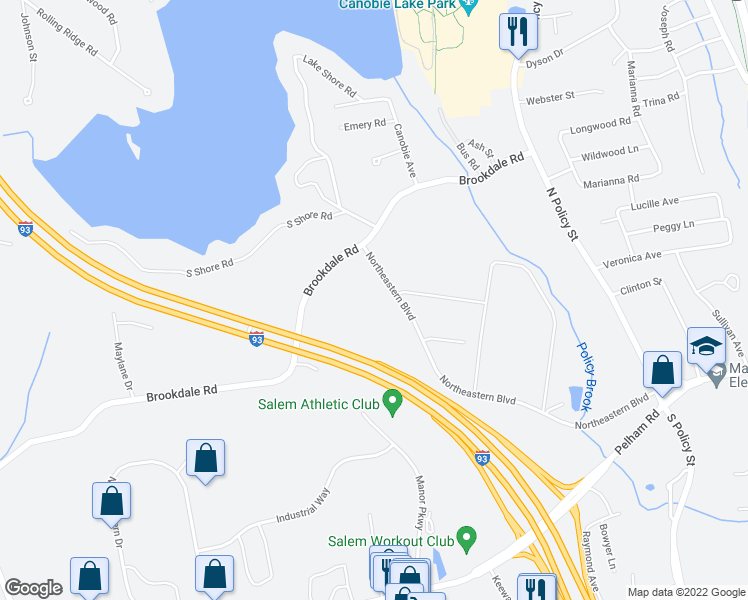 map of restaurants, bars, coffee shops, grocery stores, and more near 11 Northeastern Boulevard in Salem