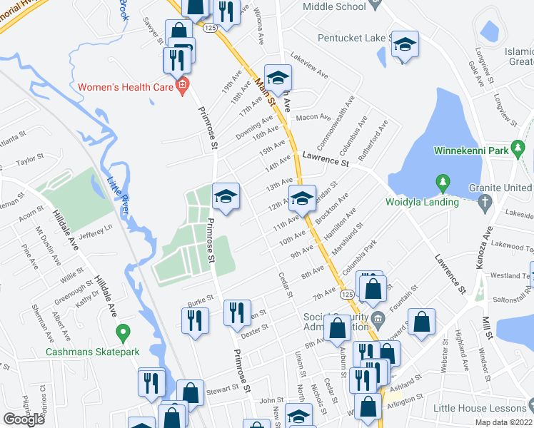 map of restaurants, bars, coffee shops, grocery stores, and more near 38 12th Avenue in Haverhill