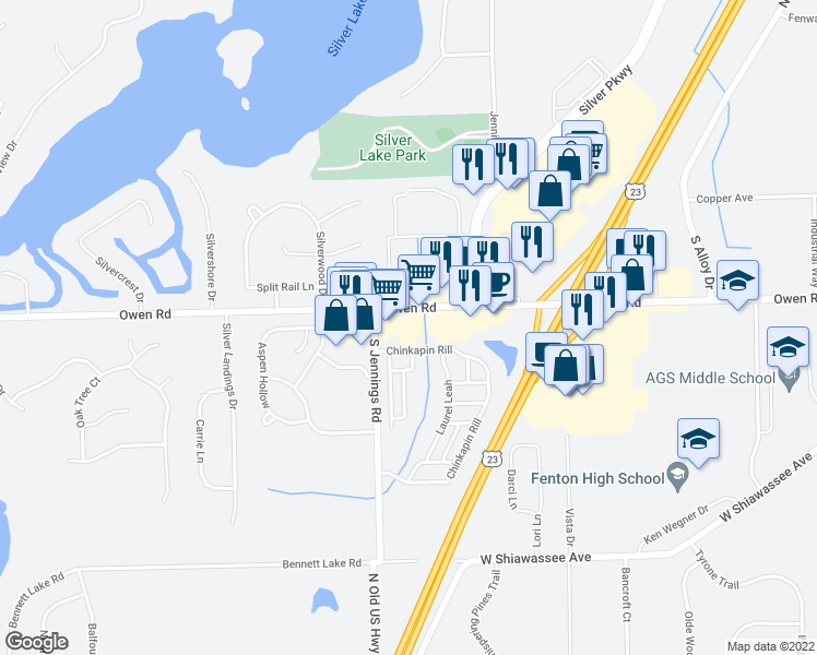map of restaurants, bars, coffee shops, grocery stores, and more near 28 Chinkapin Rill in Fenton