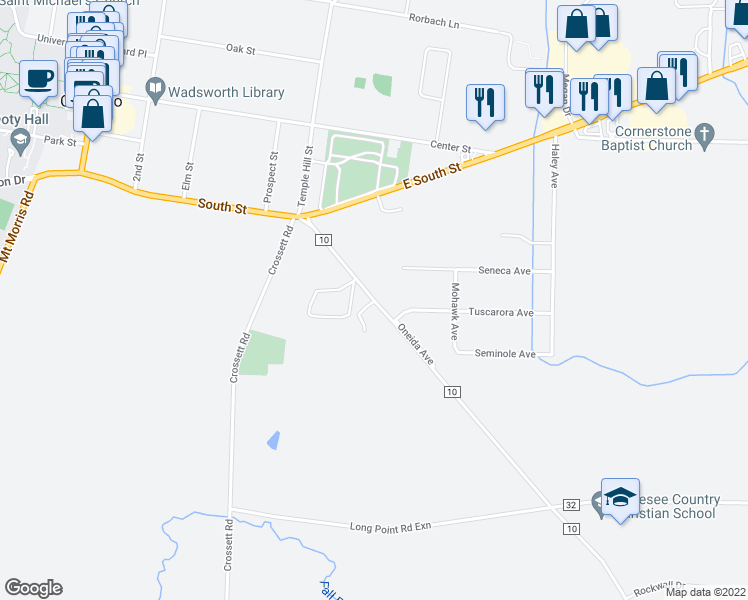 map of restaurants, bars, coffee shops, grocery stores, and more near Valley View Road in Geneseo