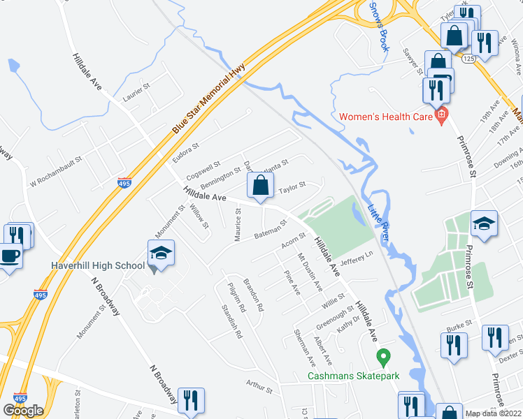 map of restaurants, bars, coffee shops, grocery stores, and more near 410 Hilldale Avenue in Haverhill