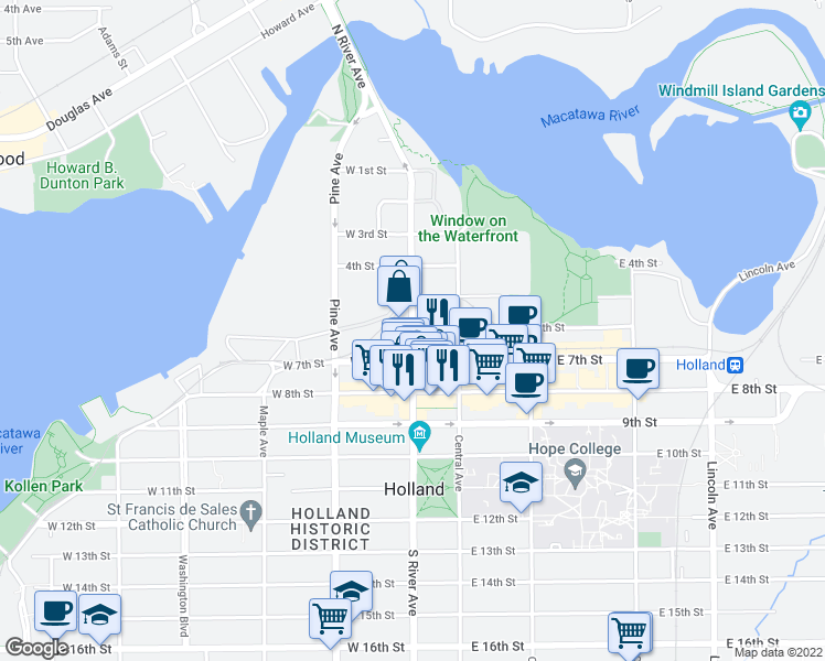 map of restaurants, bars, coffee shops, grocery stores, and more near S River Ave & W 6th St in Holland
