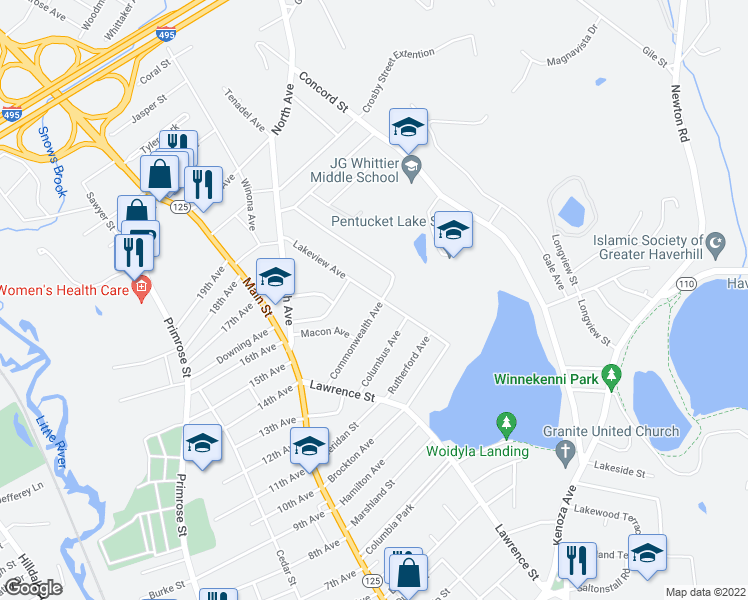 map of restaurants, bars, coffee shops, grocery stores, and more near 85 Lakeview Avenue in Haverhill