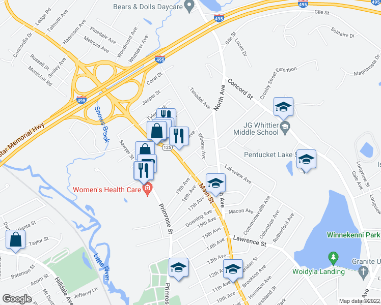 map of restaurants, bars, coffee shops, grocery stores, and more near 14 Sagamore Street in Haverhill