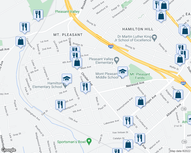 map of restaurants, bars, coffee shops, grocery stores, and more near 1118 Willett Street in Schenectady