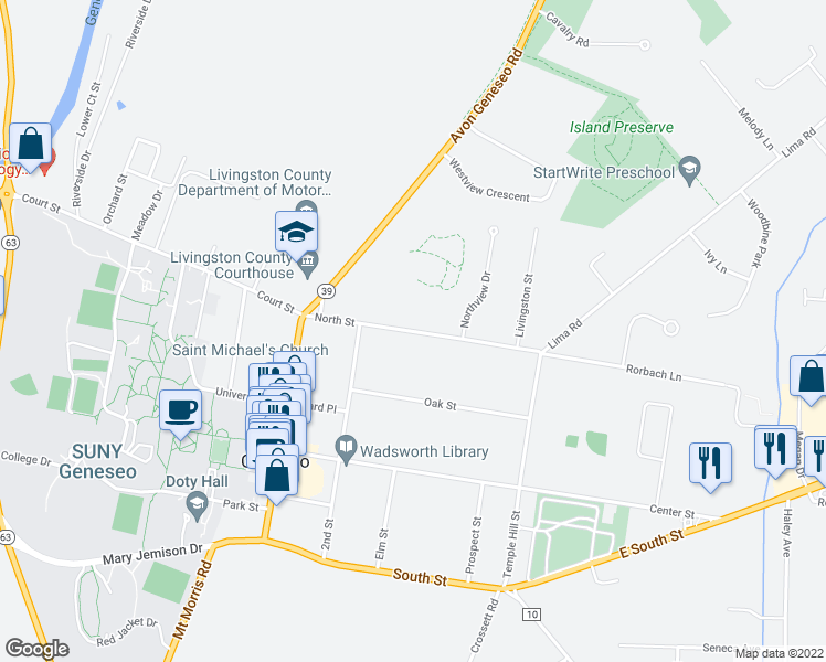 map of restaurants, bars, coffee shops, grocery stores, and more near Park Street in Geneseo