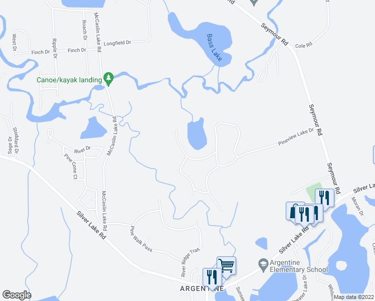 map of restaurants, bars, coffee shops, grocery stores, and more near 9090 Pineview Lake Court in Linden