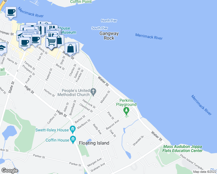 map of restaurants, bars, coffee shops, grocery stores, and more near 25 Neptune Street in Newburyport