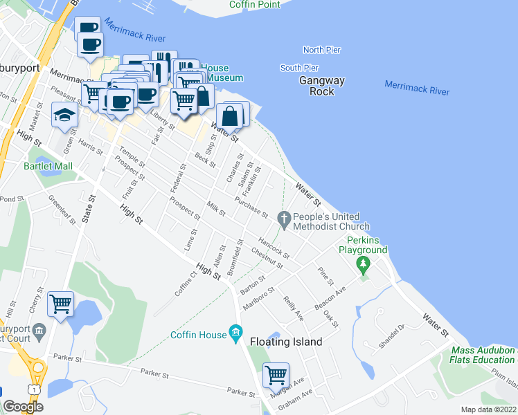 map of restaurants, bars, coffee shops, grocery stores, and more near 39 Bromfield Street in Newburyport