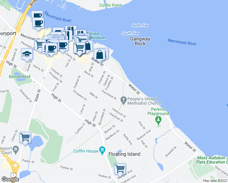 map of restaurants, bars, coffee shops, grocery stores, and more near 33 Bromfield Street in Newburyport