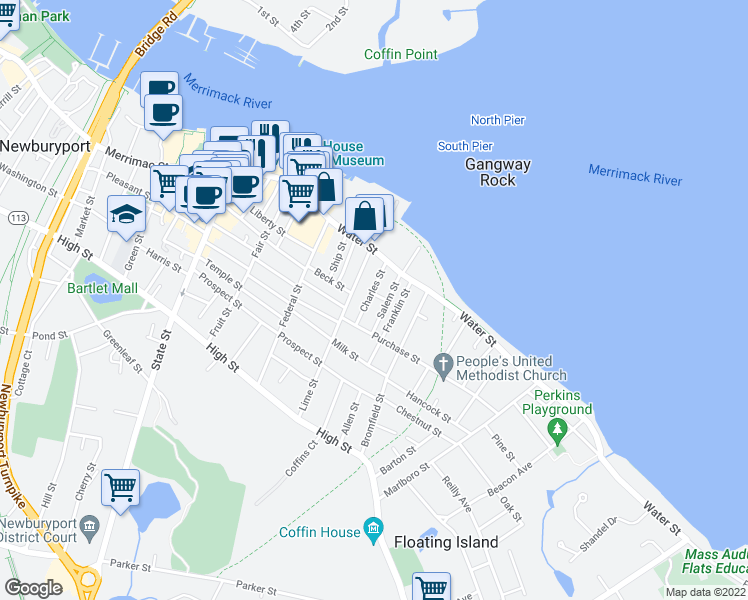 map of restaurants, bars, coffee shops, grocery stores, and more near 3 Charles Street in Newburyport