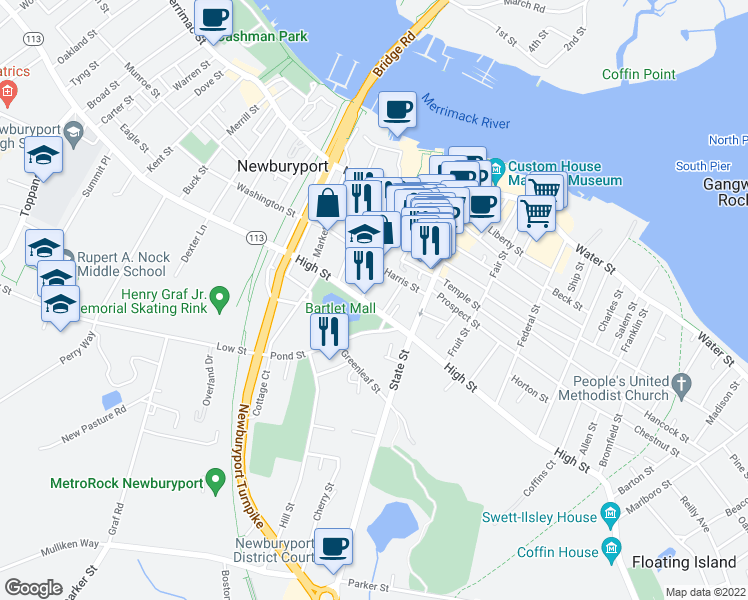 map of restaurants, bars, coffee shops, grocery stores, and more near 134 High Street in Newburyport