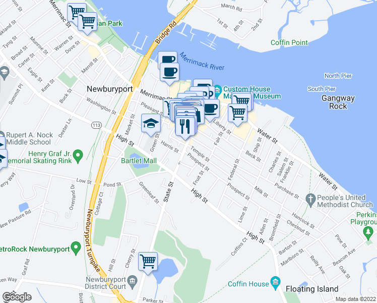map of restaurants, bars, coffee shops, grocery stores, and more near 81 State Street in Newburyport