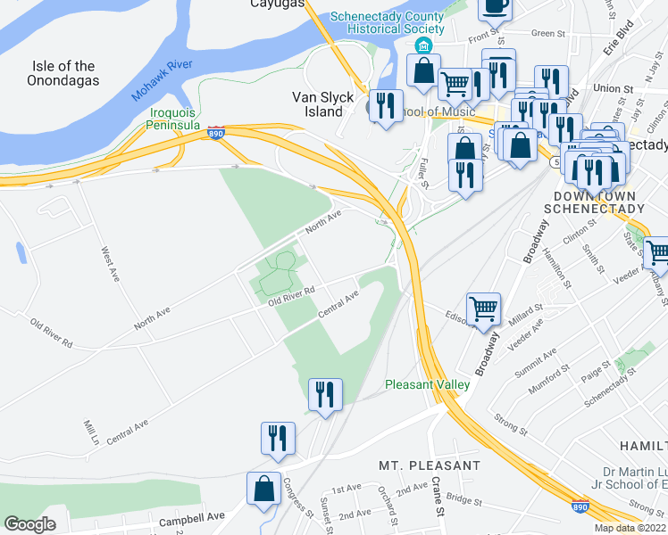 map of restaurants, bars, coffee shops, grocery stores, and more near in Schenectady