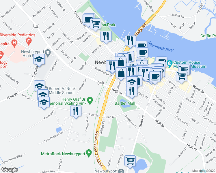 map of restaurants, bars, coffee shops, grocery stores, and more near 171 High Street in Newburyport