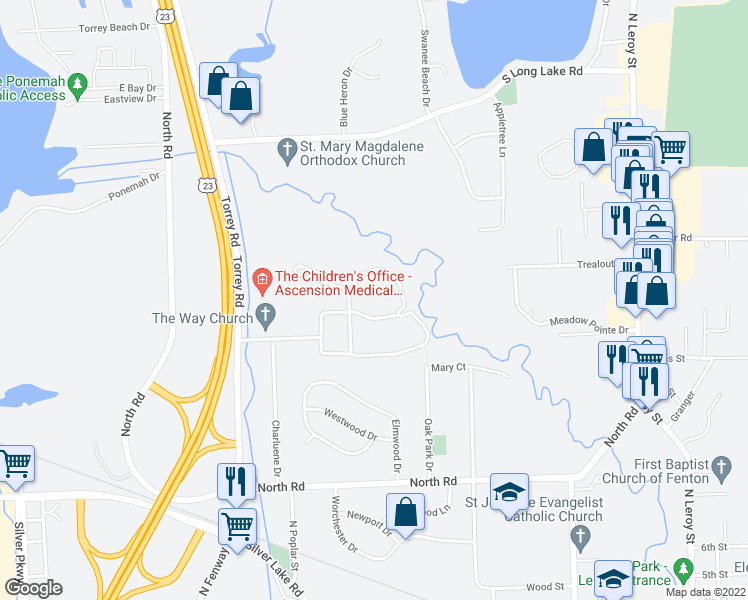 map of restaurants, bars, coffee shops, grocery stores, and more near 2100 Georgetown Parkway in Fenton