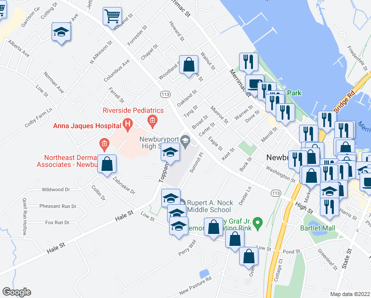 map of restaurants, bars, coffee shops, grocery stores, and more near 241 High Street in Newburyport