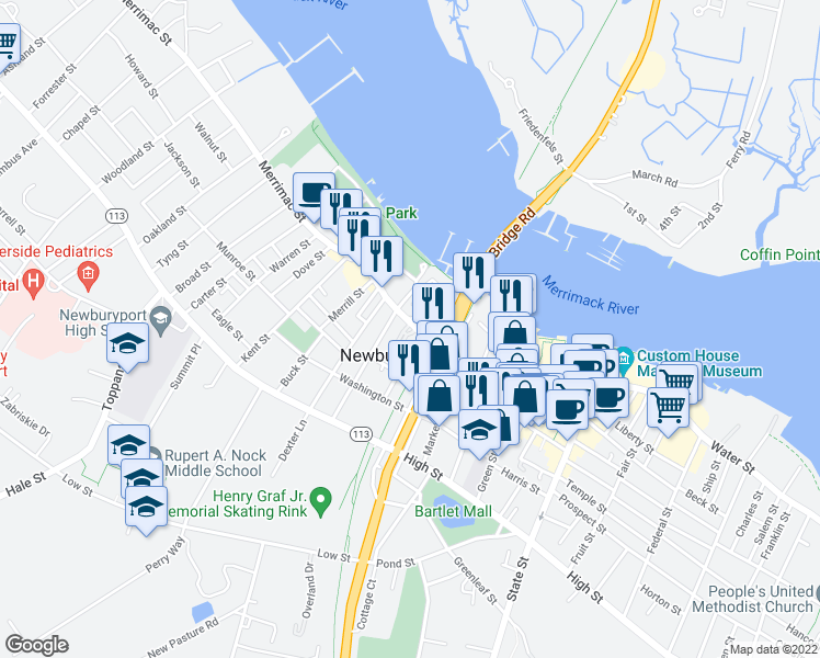 map of restaurants, bars, coffee shops, grocery stores, and more near 129 Merrimac Street in Newburyport